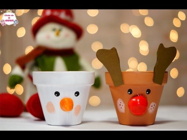 DIY Como decorar potes de flores para o Natal - Natal no  Clube da Aninha