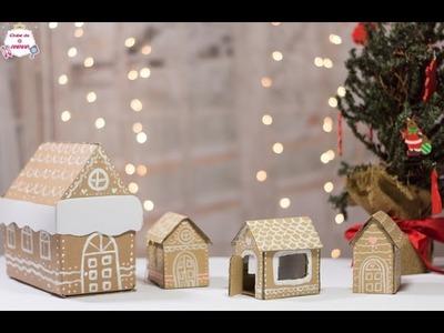 DIY Como fazer casas de gengibre de papelão. - Natal no Clube da Aninha