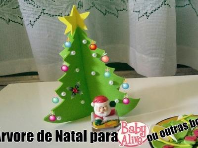 DIY Árvore de Natal de E.V.A para Baby Alive, Barbie ou outras bonecas