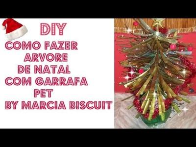 DIY-COMO FAZER ARVORE DE  NATAL COM GARRAFA PET BY-MARCIA BISCUIT