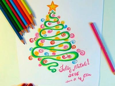 DIY - Desenho de árvore de Natal, bolas de Natal e Presépio