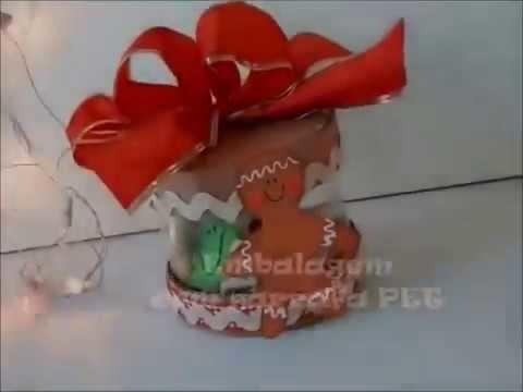 DIY ESPECIAL NATAL. Embalagem Natalina feita com garrafa PET e papelão