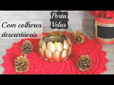 DIY- PORTA VELAS COM COLHERES DESCARTÁVEIS -DO LIXO AO LUXO#3