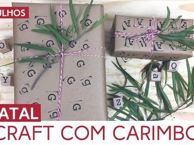 Embrulho de presente craft com carimbo | Natal by Aline Albino