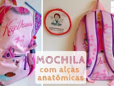 Mochila com bolsos e alça anatômica - moldes grátis (DIY Tutorial com a Bel)