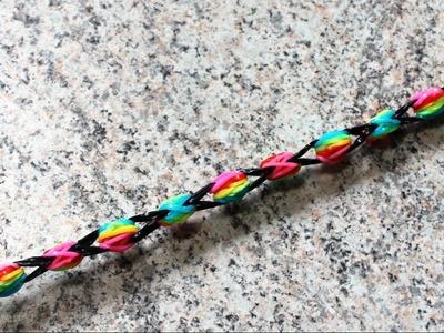 Pulseira Rainbow ( Arco Iris ) de elásticos coloridos loom bands SEM TEAR