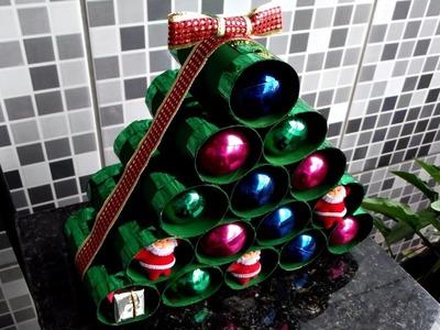 DIY - Árvore de rolinho de papel higiênico | Especial Natal