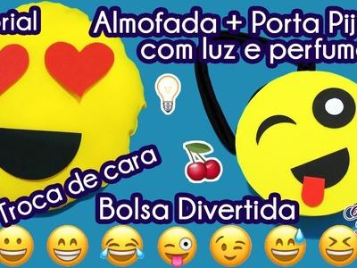 DIY Kit Emoji: Como Fazer Almofada Educativa. Porta Pijama + Bolsa Divertida | #AmigoOcultoDIY