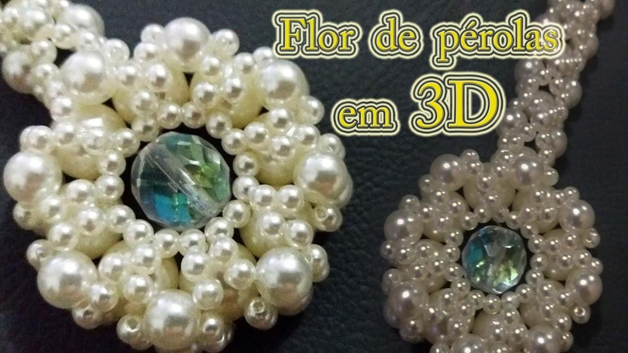 Flor de pérolas em 3D - 3D pearl flower - DIY