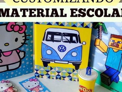 MATERIAL ESCOLAR - DIY: Volta às aulas - Customização de cadernos  gastando pouco