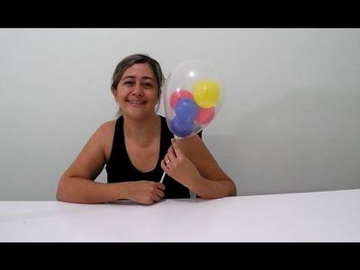 Como colocar vários balões dentro de um balão transparente -  cores do tema vingadores