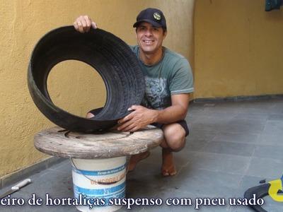 Como fazer canteiro suspenso com pneu usado   Held