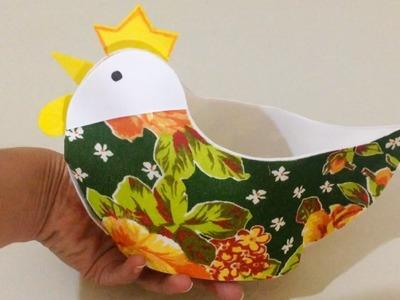 Como Fazer Porta Ovos de EVA e Tecido Passo a Passo - DIY Artesanato