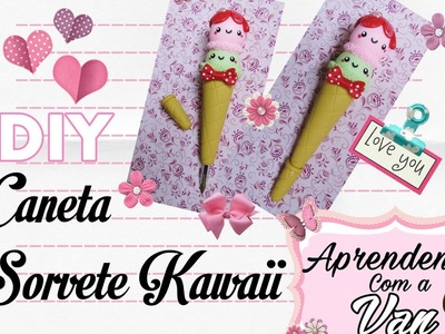 (DIY) Caneta Sorvete Kawaii em Biscuit - Ice Cream Cone Pen (Volta as Aulas - Back To School)