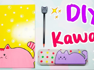 DIY - MATERIAL ESCOLAR de GATINHO KAWAII - BACK TO SCHOOL 2017 - #PrihTodoDia20