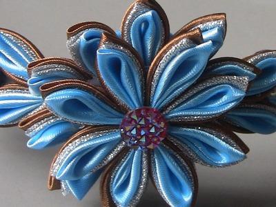 Flor de cetim e organza prateada - Tape flower