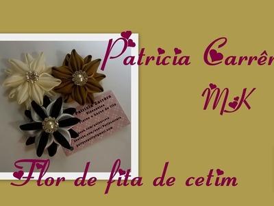 Flor de fita com duas cores MK