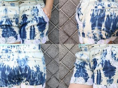 Short jeans desbotado com aplicações em renda - DIY