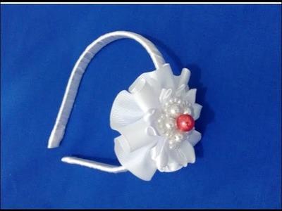 Tutorial  tiara com flor de fita de gorgurão
