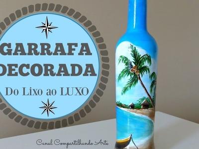 DIY: Garrafa Decorada  - Como pintar uma praia na garrafa  - Do Lixo ao Luxo - Compartilhando Arte