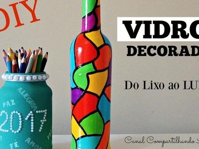 DIY garrafa decorada e porta treco - Vidros decorados - Do Lixo ao Luxo - Compartilhando Arte