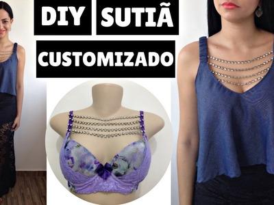 DIY SUTIÃ CUSTOMIZADO COM STRASS  FÁCIL - SUELLEN REDESING