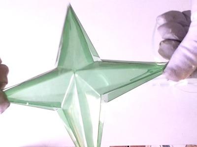 Estrela feita de garrafa pet- sem cola- origami-  diy