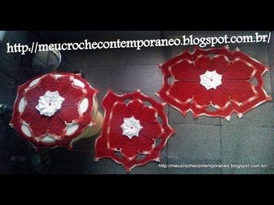 Jogo de Banheiro Andreia Medina, 1ª parte do tapete do lavabo e capa do vaso