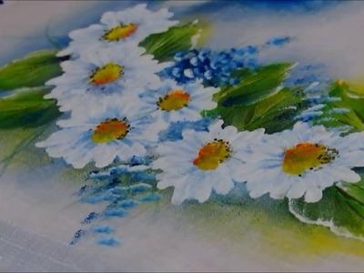 Pintura em tecido iniciantes-Aula  n° 6 -Margaridas