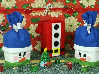 Pote Boneco de Neve e Sacolinha Papai Noel
