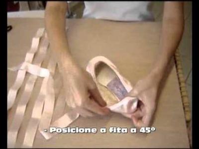 Sapatilha de ponta - Como costurar fita e elástico