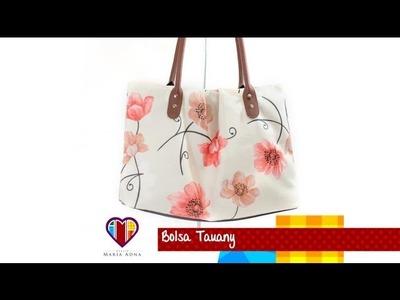 Bolsa de tecido com alça de couro passo a passo Tauany - Maria Adna Ateliê - Cursos e aulas