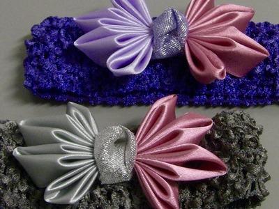 Laço com dobras de fitas de cetim  -Bow tie with bows