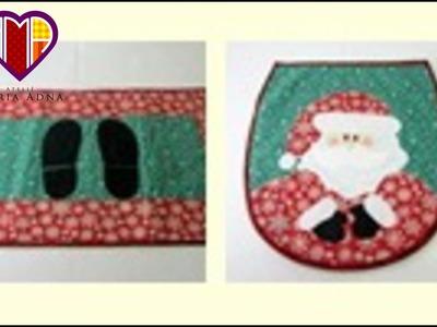 Papai noel - Conjunto artesanal para banheiro de tecido com apliquê - Maria Adna Ateliê