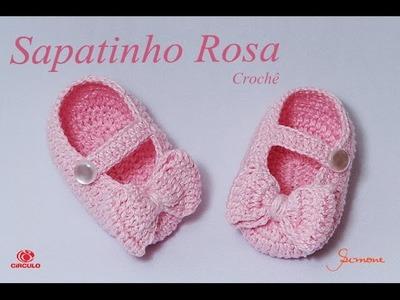 Sapatinho de Crochê Rosa | Professora Simone
