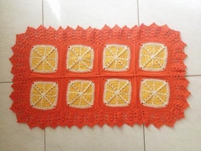 Tapete Laranja Orange retangular crochê ( para porta ) - Professora Maria Rita