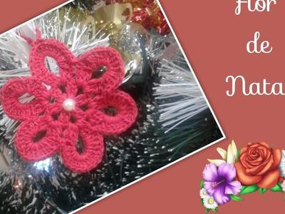 Versão destros:Flor Natalina em crochê # Elisa Crochê