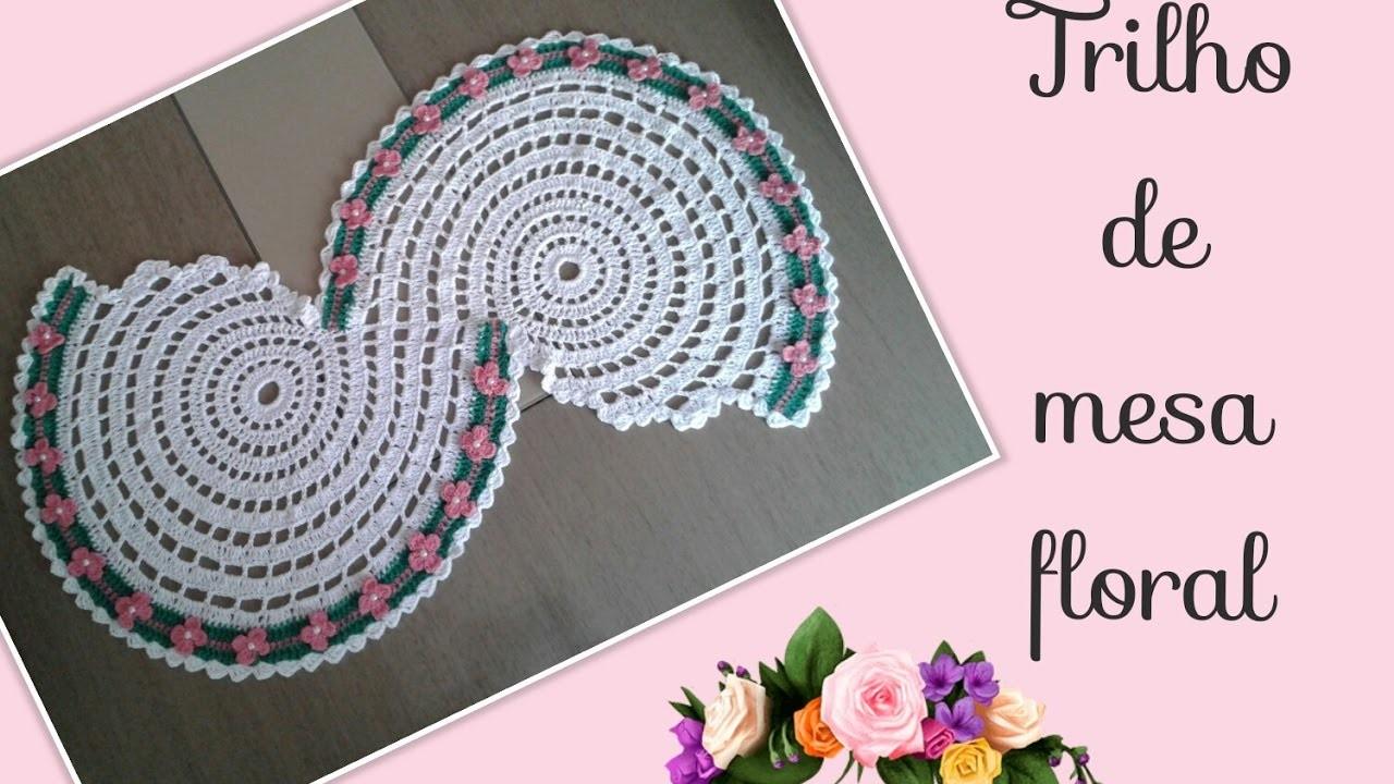 Versão destros: Trilho de mesa floral ( 2° parte final ) # Elisa Crochê