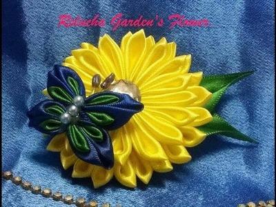 #80 - Linda flor com borboleta! Flower Butterfly  - Satim Flower - Kanzashi.  簪