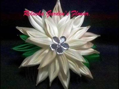 #81 - Flor de Tecido Cetim com Efeito diferente! -DIY - Satin Flower.kanzashi.Satin-Blume.サテン花. 簪