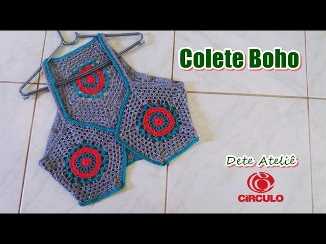 Colete Boho em Crochê by Claudete Azevedo
