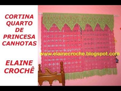 CORTINA QUARTO DE PRINCESA ELAINE CROCHÊ CANHOTAS