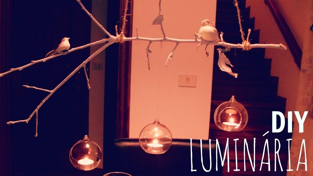 DIY-DECORAÇAO COM GALHO SECO.  Luminária e Móbile para o Natal
