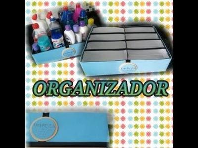 Organizador feito com caixa de leite