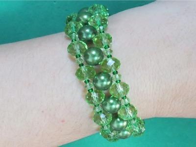 Pulseira Verde Esmeralda de Perolas e Cristais - Maguida Silva