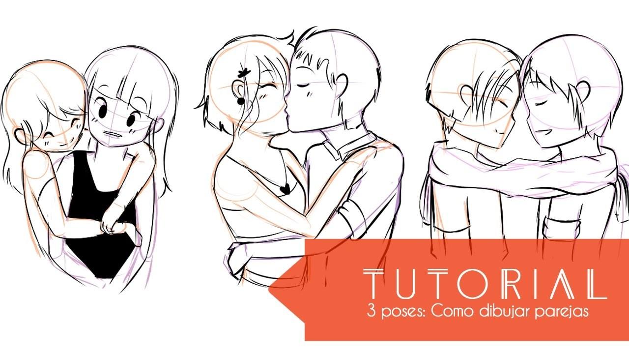 Tutorial ۰•●Aprende a dibujar 3 tipos de poses!●•۰ #4 Parejas - parte 1