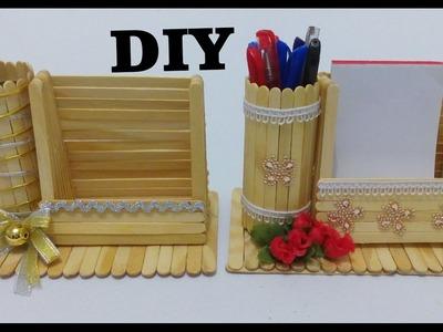 Como fazer porta recado e porta caneta com palitos de picolé