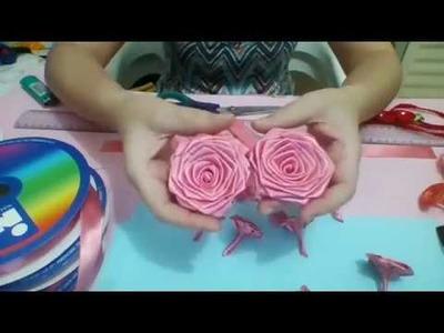Passo a Passo da Rosa rococó costurada tamanho 3cm  - fita nº 5