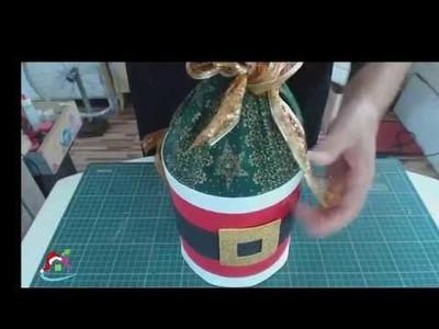 Decoração de Natal Pai Noel na  Lata de Ervilha -