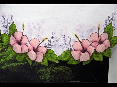 """Programa Arte Brasil - 12.01.2015 - Márcia Caires - Pintura em Pano de Copa motivo """"Flores"""""""